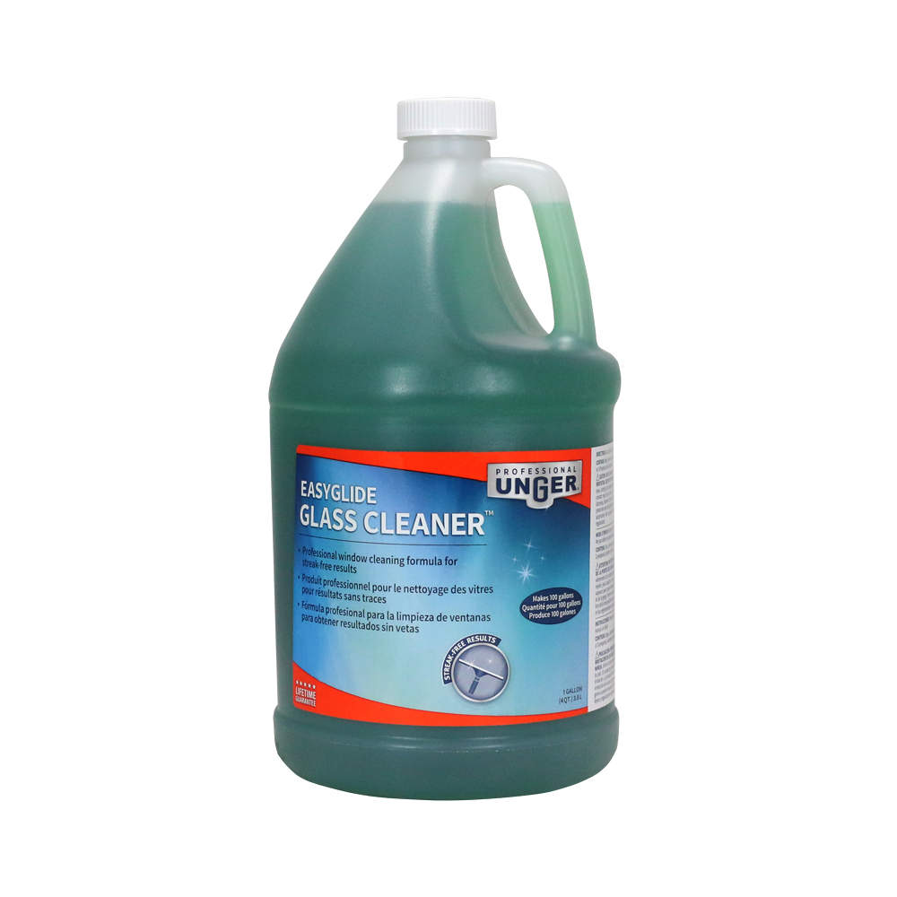 A gallon of easyglide glass cleaner solution - Unger bathroom cleaner